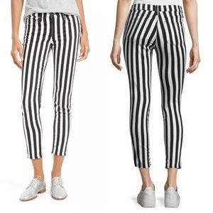 Rag & Bone Black White Stripe Capri Jeans sz 24